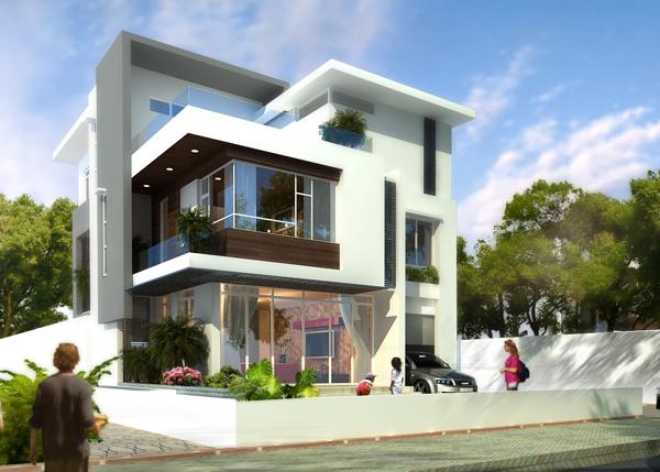 Tư vấn thiết kế biệt thự 2 tầng, 1 tum hiện đại tại Nam Thăng Long, Mê Linh, Hà Nội