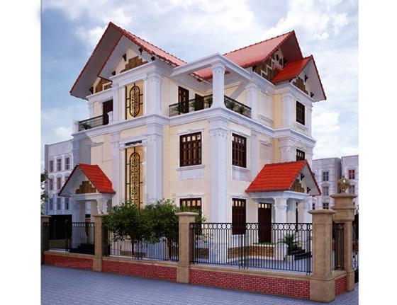 Thiết kế biệt thự 3 tầng có 2 mặt tiền phong cách cổ điển