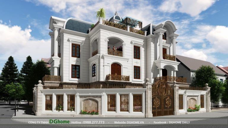 Thiết kế biệt thự phong cách tân cổ điển 4 tầng tại Linh Đàm