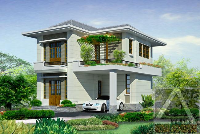 Thiết kế nhà đẹp 2 tầng phong cách tân cổ điển