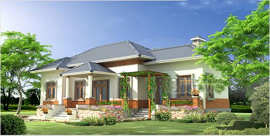 Mẫu nhà đẹp 1 tầng mái ngói đẹp sang trọng