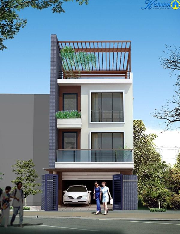 Mẫu nhà phố 3 tầng 1 tum thiết kế hiện đại