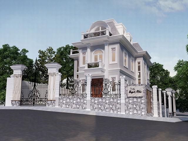 Mẫu thiết kế biệt thự cổ điển 2 tầng diện tích 180m2