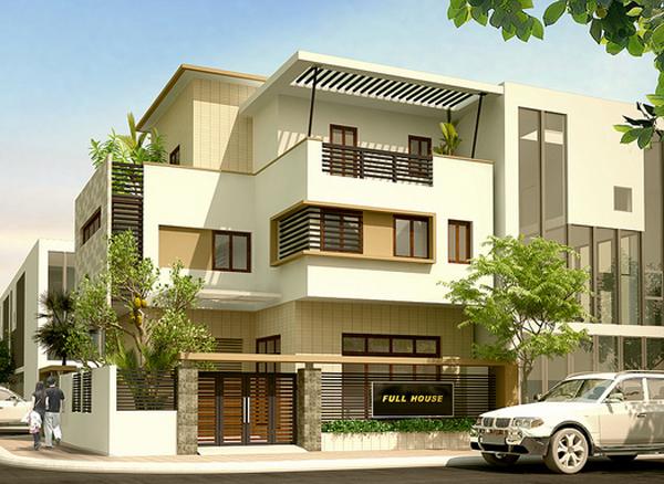 Thiết kế nhà đẹp trên đất vuông 11x11 m